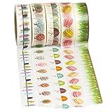5 Rollen Washi Tape (je 10m) - Papier Dekroband von Washati® (Vogel-Baum-Regenschirm-cookie-Gras)