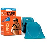 KT Tape Pro Kinesiology Therapeutic Sports Tape, 20 Precut 10 inch Strips, Laser Blue, Latex Free, Water Resistance, Pro & Olympic Choice