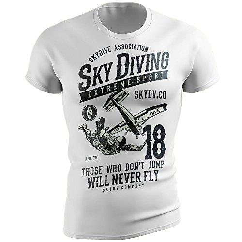 Stylotex Fitness Fitted T-Shirt Sky Diving Functional Shirt schnelltrocknend, Größe:M, Farbe:Weiss
