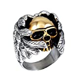 PAURO Herren Edelstahl Angel Devil Gold Skull Ring Größe 68