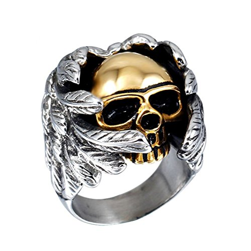 PAURO Herren Edelstahl Angel Devil Gold Schädel Ring Größe 57