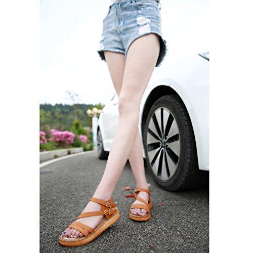 SUNAVY 2017 Neu Süß Plattform Buckle Sommer Sandalen Flach Strand Schuhe(EU 33--EU 44) Braun