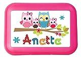 wolga-kreativ Brotdose Lunchbox mit Name Eule Eulenfamilie und Wunschmotiv mit Trennsteg viele Motive
