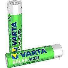 Varta SOLAR - Pack de 2 pilas AAA recargables (NiMH, 550 mAh)