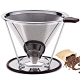 Werded Stainless Steel Coffee Filter - Reusable Double Fine Mesh Pour Over Coffee Dripper- Cone Coffee Dripper Paperless-Coffee Maker with
