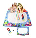 Rangebow Aqua Blue Ocean Doodle Water Painting Mat Drawing Board 74 x 49cm und Zwei Doodle Magic Pen für 2 Jahre Plus Toy