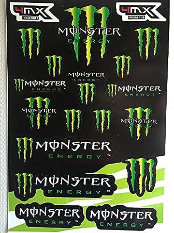 Autocollants Stickers Monster Feuille de 19 Stickers 4MX