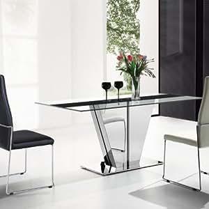 Table à manger verre et acier Cassy Couleur Transparent Matière Verre/Acier