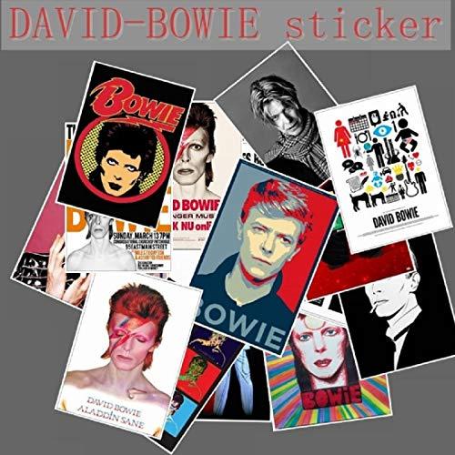 20 Stück David Bowie Rock Band Musik Gitarre Aufkleber für Gepäck Laptop Kunst Malerei DIY Poster Aufkleber Wasserdicht Skateboard Spielzeug -