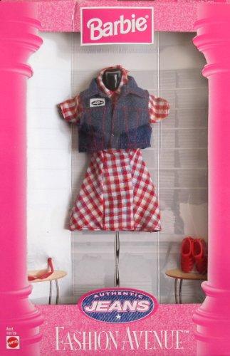 BARBIE Fashion Avenue AUTHENTIC JEANS FASHIONS Collection w DRESS, DENIM VEST & More (1997) by Barbie (Jeans Denim Avenue)