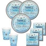 KPW 48 Teile Blinke Kleiner Stern Blau Party Deko Set 16 Personen für die Baby Shower oder Kindergeburtstag