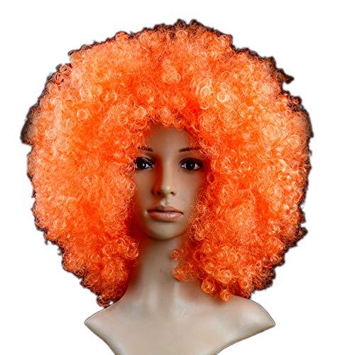 Kurze Lockige Frauen Perücken Multicolor Kunsthaar Cosplay Halloween Perücken Mit Perücke Kappe,Orange