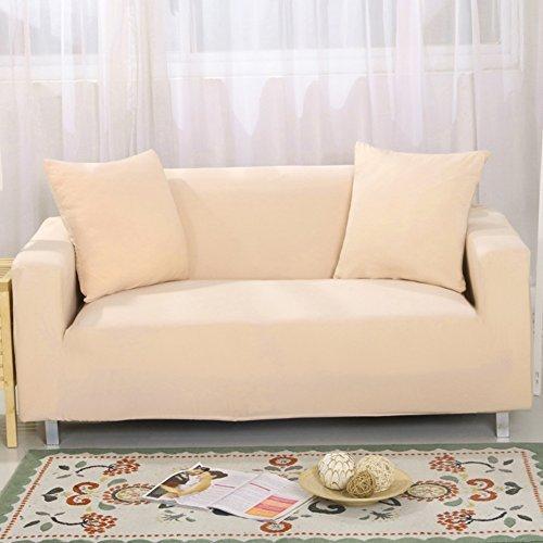 Bezug für 2-Sitzer-Sofa 7Farben erhältlich, vollständig aus Stretch, Schonbezug, Elastisch, aus weichem Stoff, für Couch, Sofa beige (Beige Stoff Sofa)