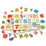 CRAVOG Puzzle En Bois - Alphabets/Nombre/Géométrie 56 pcs