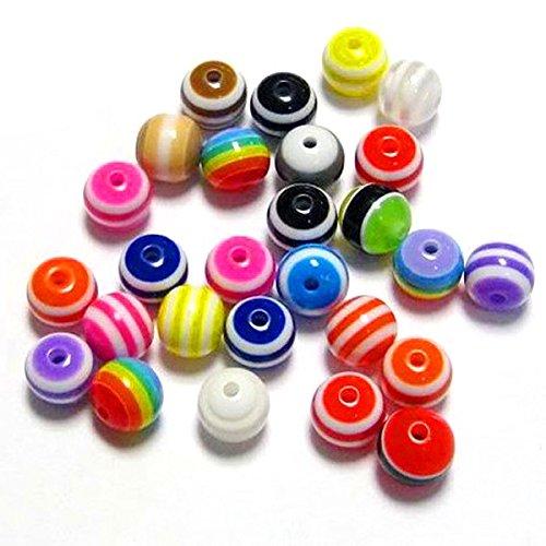 Tinksky 200er 8mm bunt gestreift Acryl Runde Perlen Zubehör für DIY Schmuck machen Kunst Handwerk Projekte (zufällige Farbe)