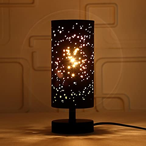 Desk Lamp, HHome Plus Iron Table Lamp Hollow-out Starry Decorative Lamps Home Décor Lights-Black