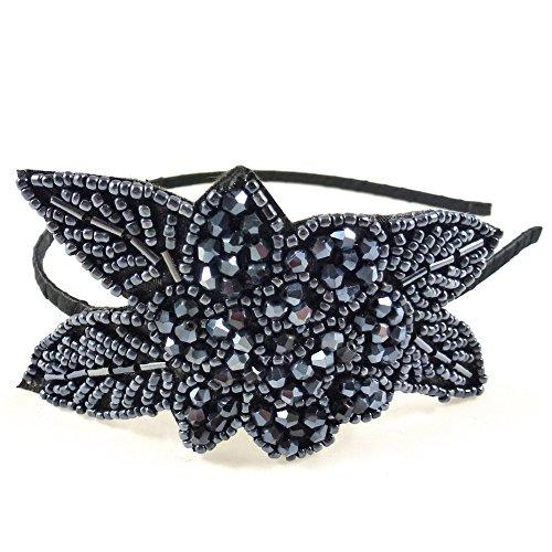 rougecaramel - Accessoires cheveux - Serre tête/headband perlé motif fleur - bleu nuit