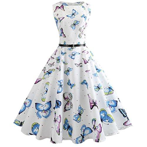 BakeLIN Kleid 50er Jahre Rockabilly Damen Vintage Polka Dots Blumendruck Bodycon Ärmellos Casual Abend Prom Swing Kleid Röcke Petticoat (S~XXL) (M, Weiß-Schmetterlinge)