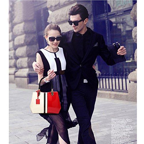 Frauen Mode PU Leder Schultertaschen Top-Griff Handtasche Tote Tasche Geldbörse Umhängetasche Blue