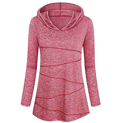 Qmber Damen Pullover Sweatshirt Elegant Langarm Pulli Kapuzenpullover -