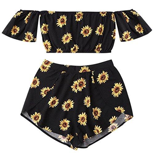 Yanhoo Sommer Oberbe Kleidung Frauen Bauchfrei Lässig Zweiteiler Frauen Schulterfer Sonnenblume Bedruckt Beach Wear Crop Tops (M, Schwarz) - Aqua-Ärmelloses Top