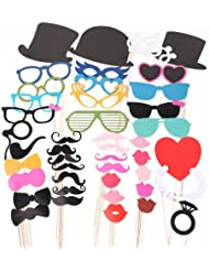 CLE DE TOUS@ 44pcs Set Accesorios para Photocalls Photocall party set Las pajitas Papel Decorativo Para Fiesta Mascarada