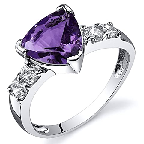 Revoni Solitaire Style 1.50 carats Amethyst CZ Diamond Ring in Sterling Silver Size N,