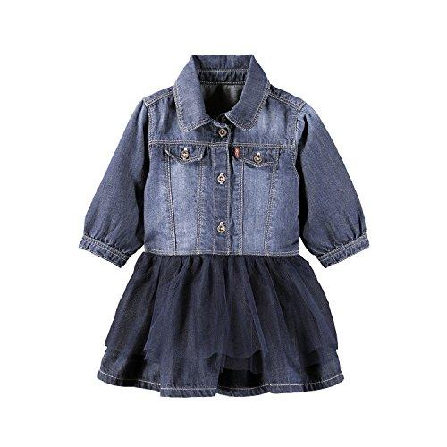 Levi's Kids Baby-Mädchen Kleid Dress Balleryn, Blau (Denim 46), 74 (Herstellergröße: 12M) (Lange Levis)