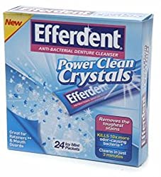 Efferdent Power Clean Crystals Anti-Bacterial Denture Cleanser Icy Mint Packets