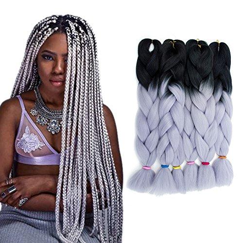 6 pcs/100g 24 '' due estensioni intrecciate dei capelli della treccia di ombre kanekalon intrecciare i capelli (1b/silver grey)