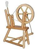 Unbekannt Miniatur Spinnrad - aus hellem natur Holz - lackiert - für Puppenstube Maßstab 1:12 - Puppenhaus Puppenhausmöbel - zum Spinnen Wolle - Schafwolle Spindel Dornröschen Märchen - Wohnzimmer