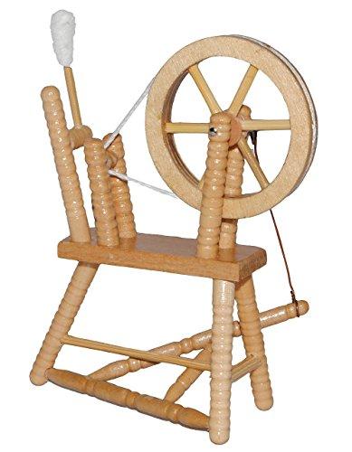 Miniatur Spinnrad - aus hellem natur Holz - lackiert - für Puppenstube Maßstab 1:12 - Puppenhaus Puppenhausmöbel - zum Spinnen Wolle - Schafwolle Spindel Dornröschen Märchen - Wohnzimmer
