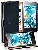 MoEx Cover a Libretto Compatibile con Huawei Ascend Y300   Fessura Carta + Soldi, Supporto, Nero