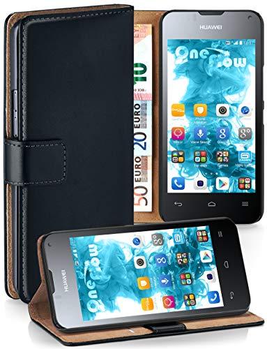 moex® Booklet mit Flip Funktion [360 Grad Voll-Schutz] für Huawei Ascend Y300   Geldfach & Kartenfach + Stand-Funktion & Magnet-Verschluss, Schwarz