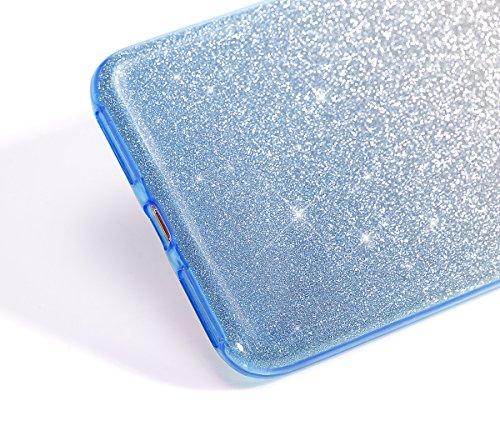 Cover iPhone 7 Plus,Custodia iPhone 7 Plus,ikasus® Layer 3 Crystal Clear Hard PC & Soft TPU & Glitter Stickers con Sfumatura di colore Caso Custodia custody sleeve Case Cover per iPhone 7 Plus Custodi gradiente Blu