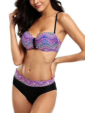 Alove Womens Summer Beach Bikini Sets Flower Push Up Padded