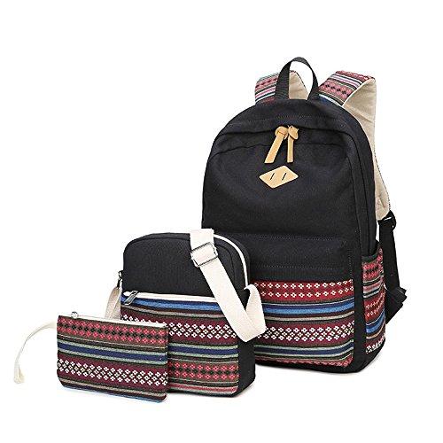 Canvas Rucksack, Laptop Schule Rucksack, Schule Rucksack + Messenger Bag + Handtasche (schwarz-2)
