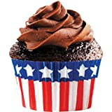 Cupcake Creations - Cápsulas de magdalenas (32 unidades), diseño de bandera estadounidense