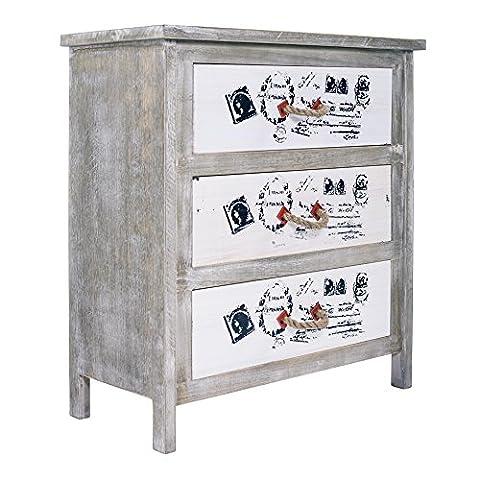 Rebecca Srl Kommode 3 Schubladen grau weiß Prints Beschriftung Seilgriffen Vintage Shabby Schlafzimmer (Code
