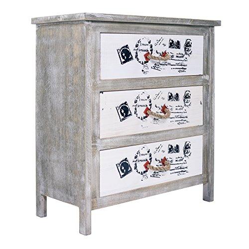 Mobili rebecca comodino como cassettiera 3 cassetti legno bianco vintage shabby chic camera cucina soggiorno (cod. re4154)