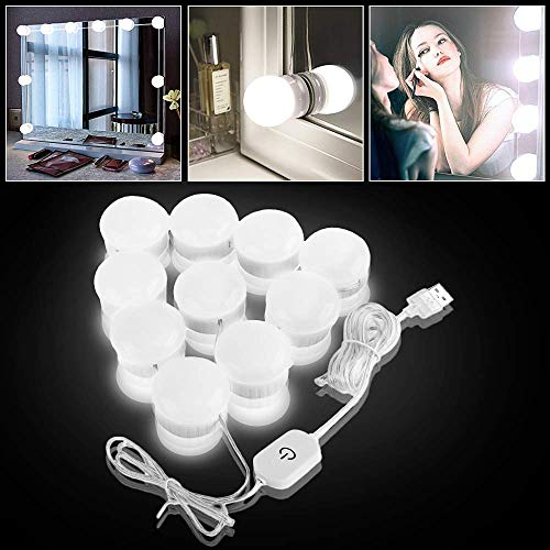 Estilo Hollywood Luces de Espejo de Tocador LED Kit con 10 bombillas regulables para maquillaje Tocador con brillo, 5 engranajes Atenuador táctil y cable de alimentación USB (el espejo no incluye)