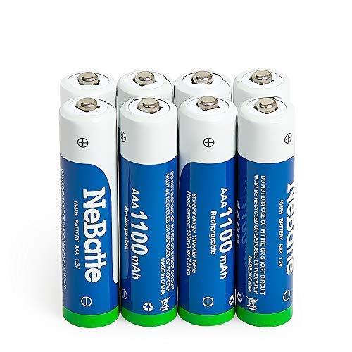 NeBatte 8x AAA 1100mAh 1.2V Ni-MH Pile Ricaricabili ministilo batterie 8 pezzi alta capacità Bassa autoscarica 1200 cicli con 2 custodia
