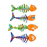 Bid Buy Direct Pack de 4 brillantes piscinas de agua atrapar peces juego bajo el agua piscina buceo juguetes conjunto mejora natación/buceo habilidades con diversión y juego.