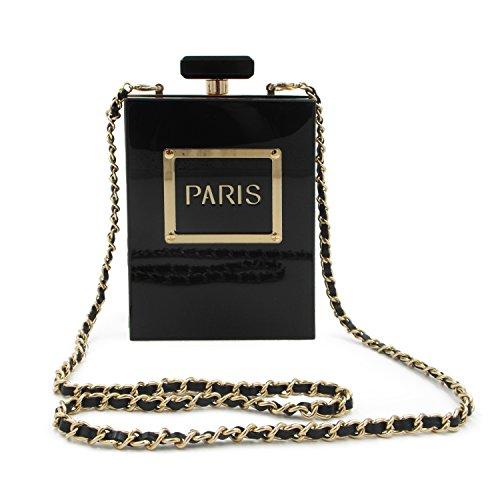 EVEOUT Mujeres Acrílico París Perfume Forma Bolsos de noche Monederos Embrague Vintage Banquete Bolso para damas
