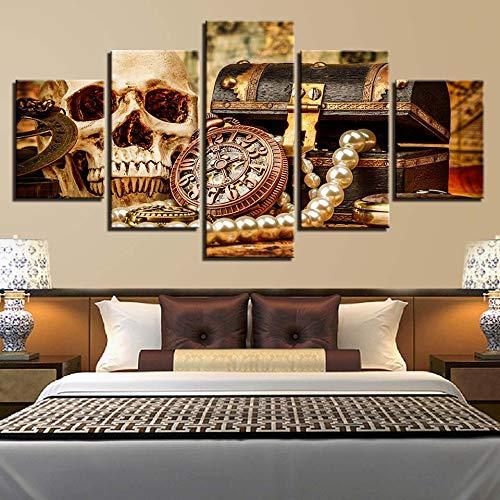 zayduo Leinwandbilder Bilder auf Dekoration Leinwand Malerei Kunstwerk Poster 5 Stücke Schädel Schmuck Wandkunst Wohnzimmer Modulare HD Drucke Kreative Bilder