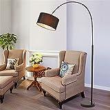 WQRTT Stehender Lampen-Moderner Angelrute-gewölbte Stehlampe, Marmorsockel, mit Fernbedienung,Black