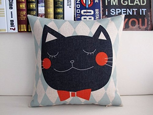 pillow decorative sofa cover couch designer side bed Black Cat Bowtie
