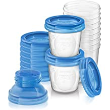Philips Avent SCF618/10 - Set de recipientes para leche materna (10 recipientes + 10 tapas + 2 adaptadores)