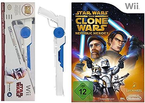Wii Star Wars Bundle: The Clone Wars - Republic Heroes + Clone Trooper Light Gun Controller Aufsatz
