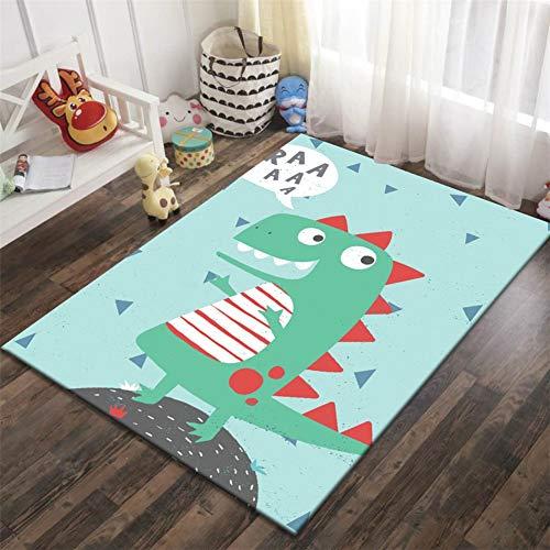 No 3D Alfombras Salon Grandes Modernas Design Suave Shaggy Antideslizante Lavables Dinosaurio de Dibujos...